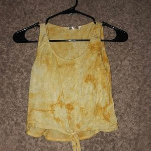 Tops - Yellow Acid Washed Crop Top
